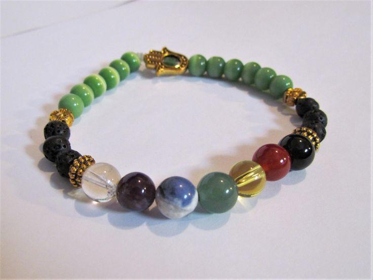 Essential Oil Lava Chakra Reiki Gemstone Hamsa Charm Bracelet! by MoirasJewelleryBox on Etsy