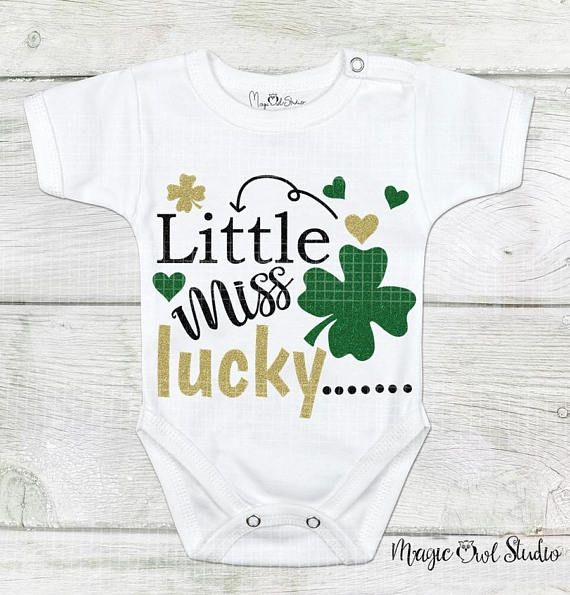 Little Miss Lucky St. Patrick's Day Svg Glittered Shamrocks and Hearts Text Irish Holiday Svg Digital Download Cutting Files Eps Png Dxf Jpg