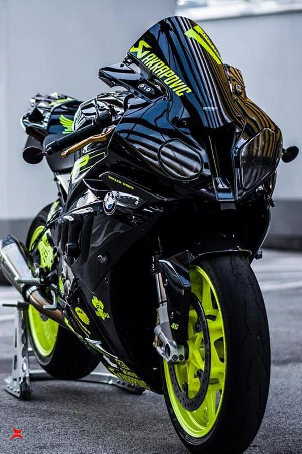 Bmw S1000rr In Custom Black Fluorescent Green Colour With Images