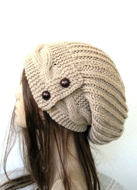 Hand Knit Hat- Womens hat - Winter Hat  Slouchy Beanie cable Knit Hat in Camel with  Button  Winter Accessories knitted beanie  Fashion
