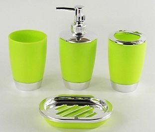 4 piece bathroom accessory set soap dish dispenser tumbler toothbrush holder 211 4 - Bathroom Accessories Lime Green