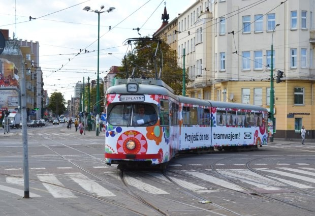 a tram in Poznan, Poland