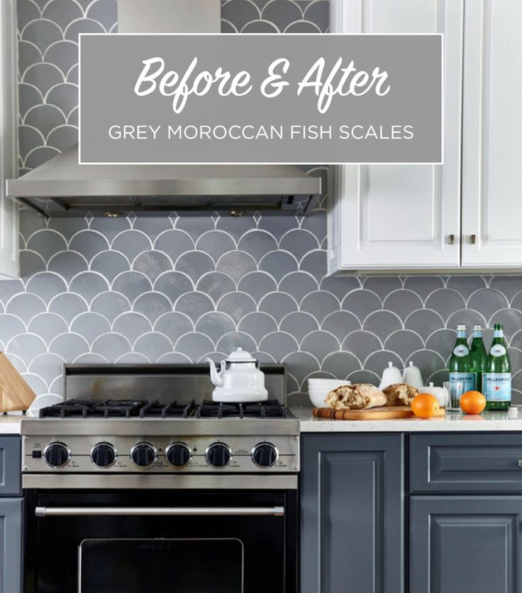 Grey-Moroccan-Fish-Scales Before & After - Grey Moroccan Fish Scale Backsplash All Kitchens Residential Tile Inspiration