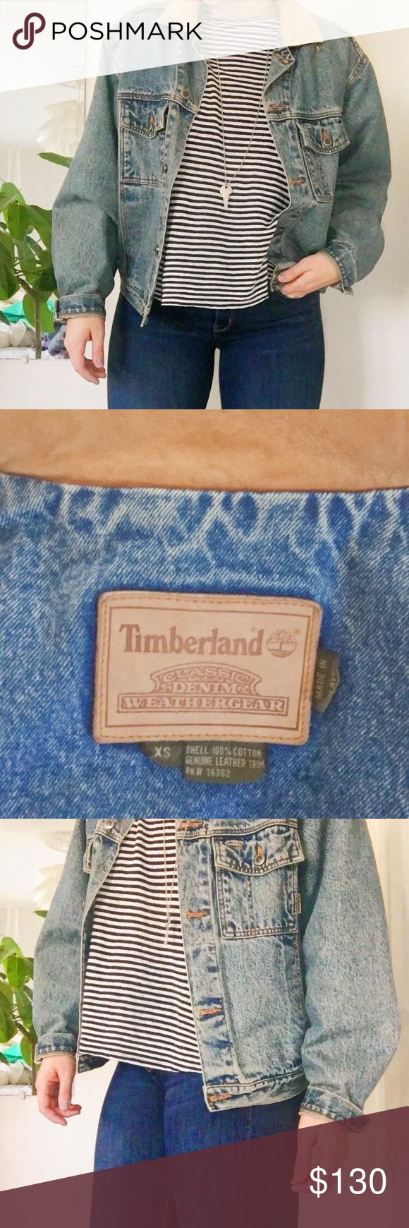 Timberland Jacket Acid wash denim jacket with suede collar! XS but I'm usually a Medium and it fits on the bigger side! Timberland Jackets & Coats Jean Jackets