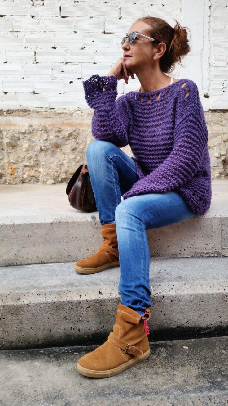 Jersey de mujer, suéter dos agujas, jersey tejido flojo, suéter de punto, regalo para ella, jersey púrpura de EstherTg en Etsy https://www.etsy.com/es/listing/252649516/jersey-de-mujer-sueter-dos-agujas-jersey