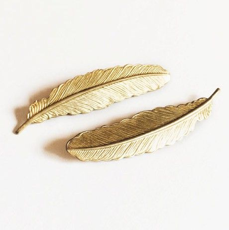 Handmade Gifts | Independent Design | Unique Jewelry Gold Feather Hair Pins - Girls