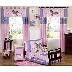 @Overstock - This Pretty Pony bedding set by JoJo Designs will help your little girl saddle up for sweet dreams. This for Emily's room horseshoes.http://www.overstock.com/Bedding-Bath/Pretty-Pony-Horse-5-piece-Toddler-Girls-Bedding-Set/5298522/product.html?CID=214117 $89.99