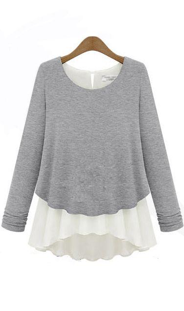 Casual modal stitching two-piece long-sleeved chiffon shirt