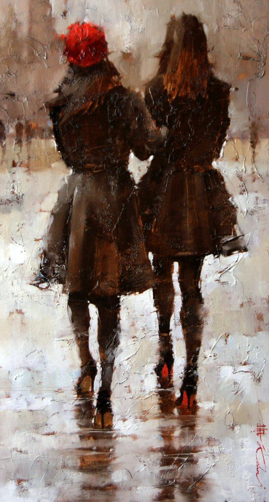 Andre Kohn - Sisters I really appreciate the visual texture and the reflections. The beautiful balance created by the bright red toque and sole of the heels that contrast the background really create a strong sense of unity between the two sisters.