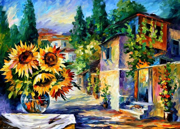 """""""Greek Noon"""" by Leonid Afremov ___________________________ Click on the image to buy this painting ___________________________ #art #painting #afremov #wallart #walldecor #fineart #beautiful #homedecor #design"""
