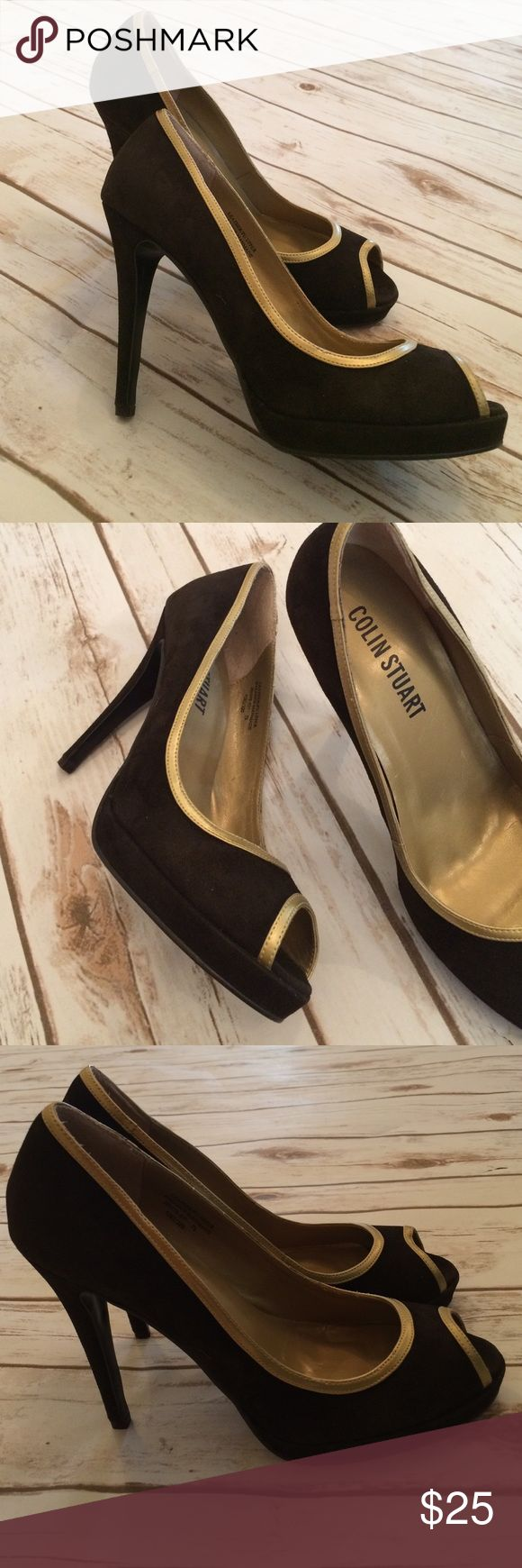 NEW Colin Stuart Black Suede Peep Toe Pumps Never Worn black suede pumps with metallic gold trim. Made with a leather upper and man-made balance. The heel is 4 1/2 inches and there is an 1/2 inch platform underneath. Colin Stuart Shoes Heels
