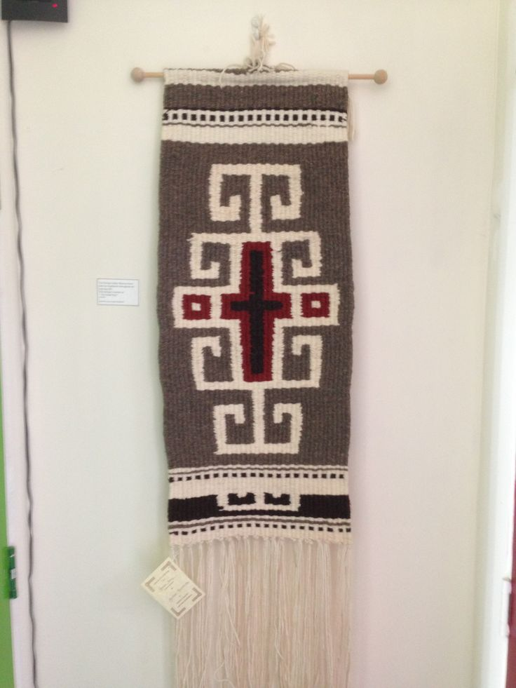 Greek key woven wall hanging by Jackie Maddocks at Melin Trefin, Trefin, Pembrokeshire. www.melintrefin.co.uk