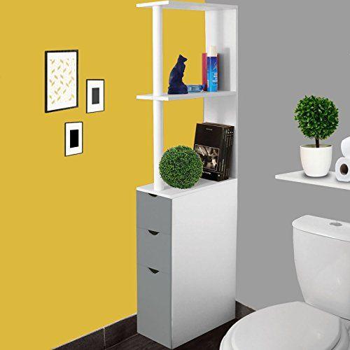 IDMarket - Meuble WC étagère bois blanc et gris gain de place pour toilettes 3 portes #IDMarket #Meuble #étagère #bois #blanc #gris #gain #place #pour #toilettes #portes
