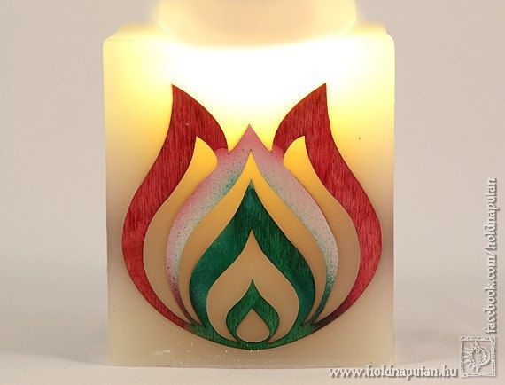 Folk art tulip ornament Hungarian wooden flower in by picandle, $38.00