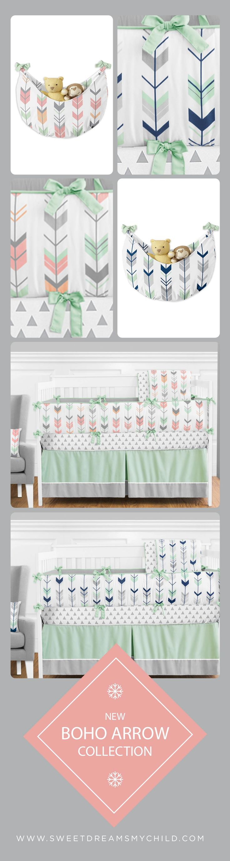 The prettiest Boho Arrow Tribal baby bedding collections in mint, coral, navy and grey.