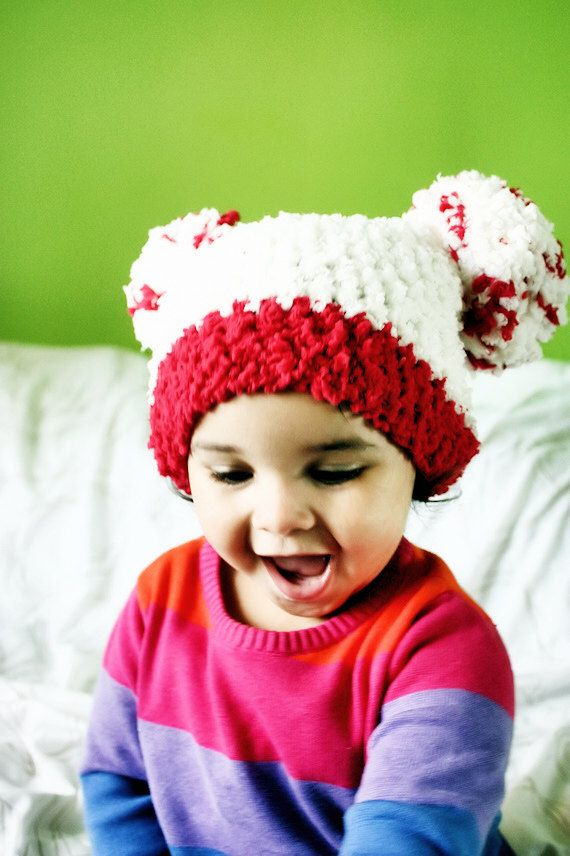 SUMMER SALE* Crochet red and cream double pom pom baby hat (can be customised with your colour preference). Handmade with love by Babamoon   - size 6 to 12m -   * Can be made in other colours  * Can be made in other sizes!  * Save 10% today ->