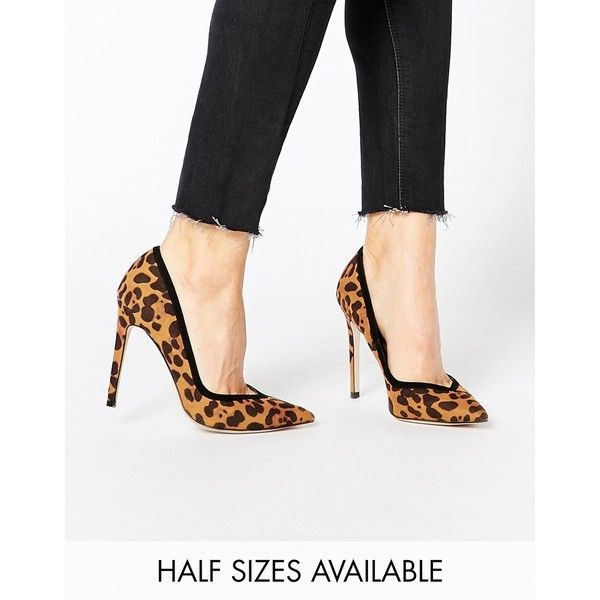 ASOS PIXIE Pointed High Heels (740 MXN) ❤ liked on Polyvore featuring shoes, pumps, leopard, pointed pumps, high heel pumps, leopard shoes, pointed toe stilettos and pointy pumps