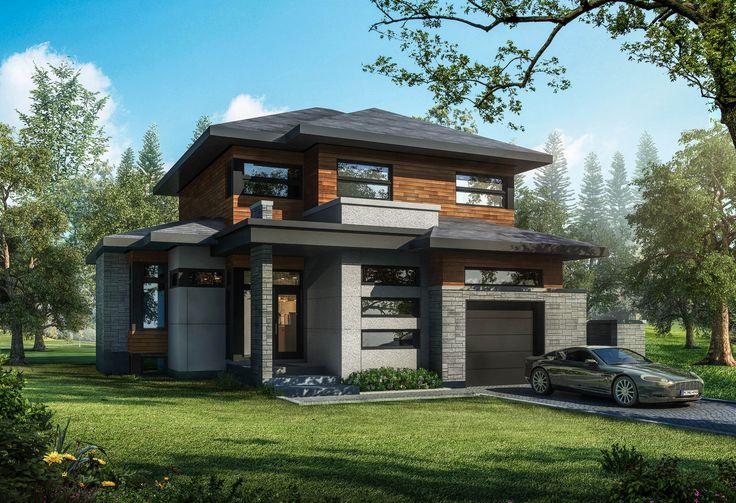 Modèle de maison contemporaine construite par Guilmain Design dans le projet immobilier www.Chemindelamontagne.com