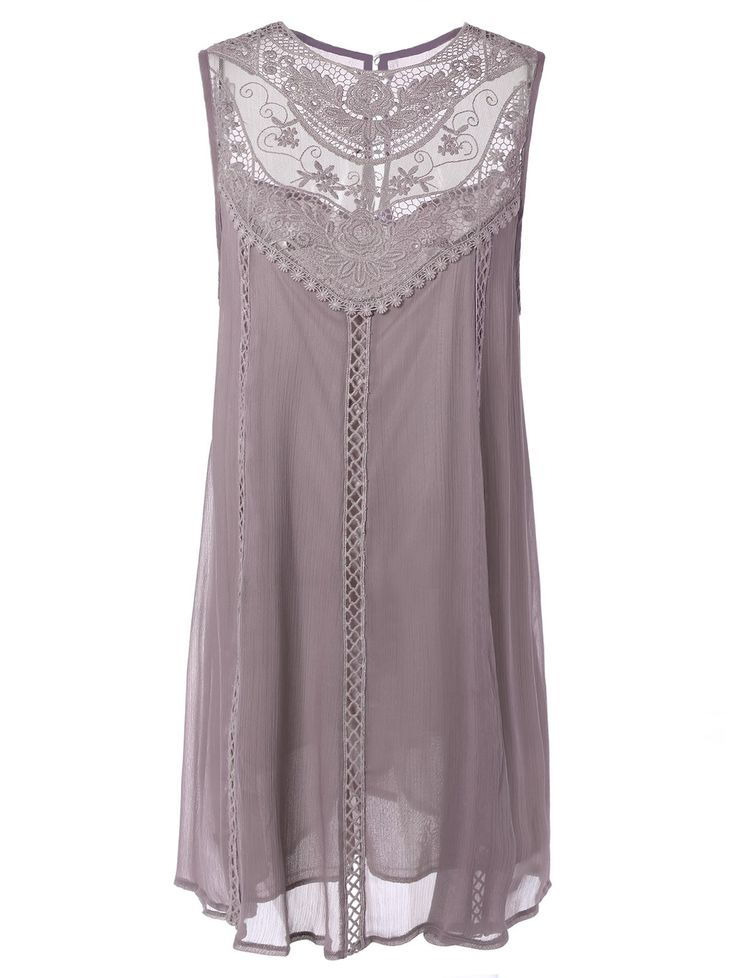 Embroidery Lace Insert Plus Size Dress
