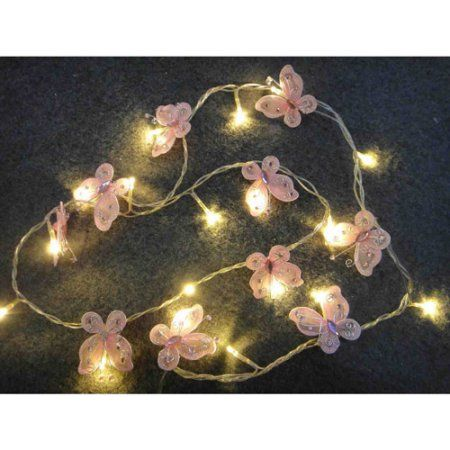 Battery-Operated Butterfly Lights, 10 Lights, Pink