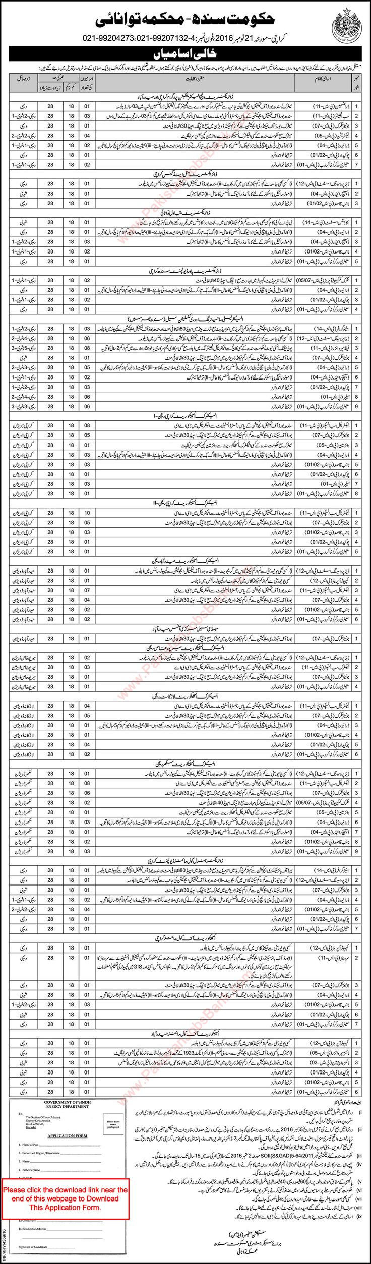 Energy Department Sindh Jobs 2016 November Application Form Sub Inspectors, Clerks, Naib Qasid & Others Latest