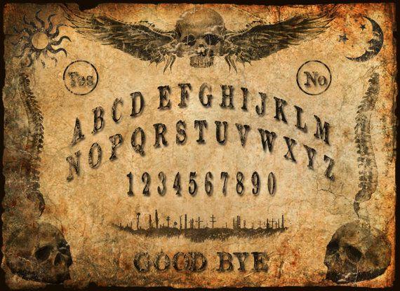 NOW $5 OFF - OUIJA Witch BOARD VINTAGE Print Skulls Wings by BadTigerDesigns