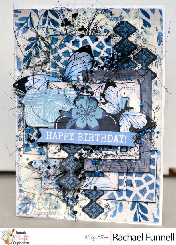 Now for another share with Rachael's creative projects using Kaisercraft's 'Indigo Skies'. Here we have a sensational 'Happy Birthday' card, I just love the amount of detail :) By visiting the Anna's blog you will be able to view all of the inspiring work by Rachael and our other DT members.  #scrapbooking #annascraftcupboard #annasdtmember #scrapbookinglayout #ilovescrapbooking #papercraft #papercrafting #scrapbookingsupplies #kaisercraft #indigoskies #annasDTextraordinaire #mixedmedia