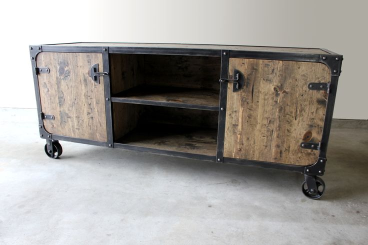 Modern Industrial Media Console Tv Stand With 5 Quot Casters
