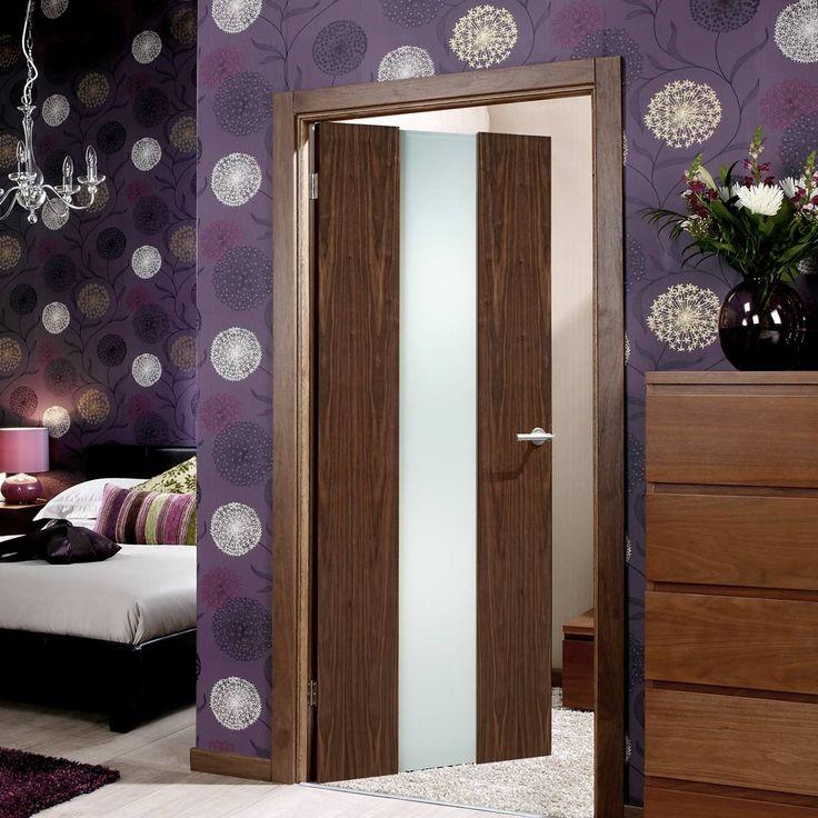 Door Set Kit, Zaragosa Walnut Door - Frosted Safe Glass. #contemporarydoor #moderndoor #internaldoor