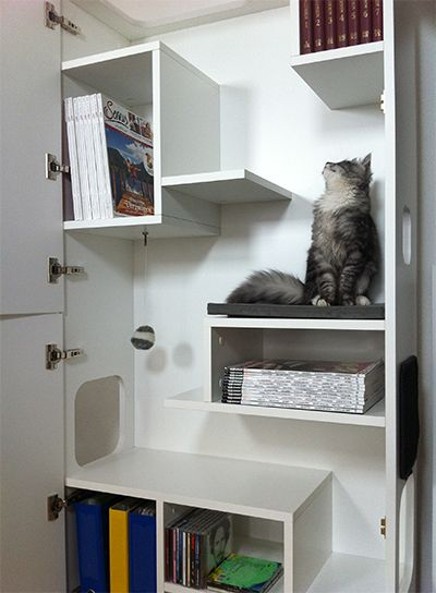 Schlafplatz, Kletterbaum, Spielbereich, Aussichtsbereich und Rückzugsbereich für Ihre Katze - Stauraum für Sie.