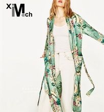 XIM MATCH Кимоно стиль Моды Кардиган Открыть Стежка С Длинным рукавом Цветок Печатных Зеленый Длинный Пляж Кардиган с Бантом Пояса CD03879D
