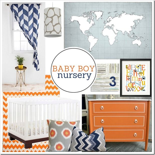 I know its supposed to be a boys but i like for a girls too. the color combo would be nice in a grown ups bedroom too. Navy and Orange Baby Boy Nursery Mood Board on PBJstories.com