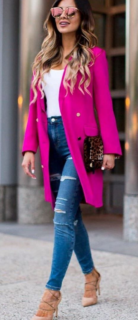 beautiful business style outfit: coat + rips + bag + top + heels