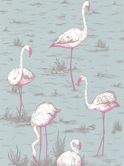 Cole & Son Flamingos Wallpaper, Blue / Pink, JohnLewis.com - John Lewis