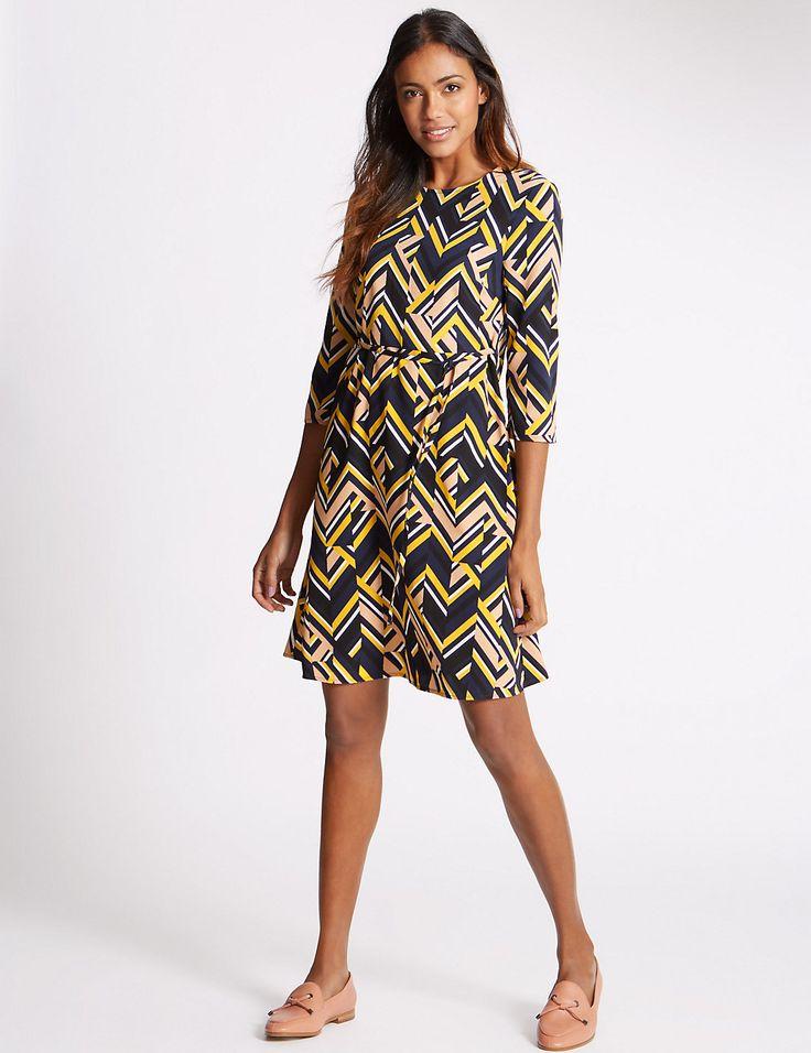 Chevron Print 3/4 Sleeve Swing Dress