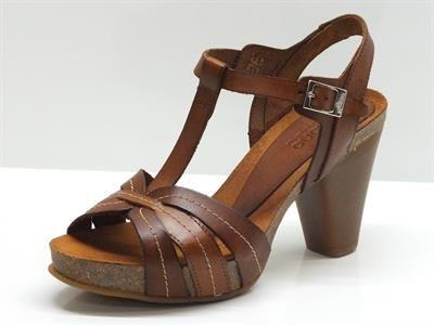 Sandali per donna yokono in pelle marrone tacco 9cm plateau 2cm