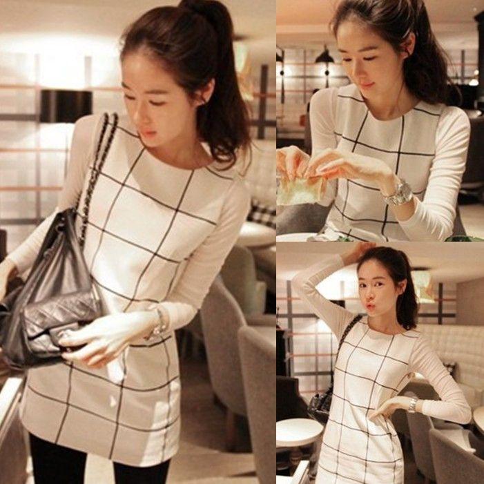 La ropa de la mujer 2013 de la moda otoño a cuadros de largo vestido de manga básica un falda de línea