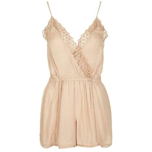 TopShop Geo Crochet Playsuit ($34) ❤ liked on Polyvore featuring jumpsuits, rompers, dresses, jumpsuit, shorts, playsuit romper, jump suit, playsuit jumpsuit, topshop rompers and topshop jumpsuit
