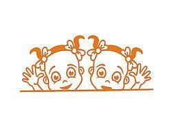 Aufkleber - zwei Mädchen am Fenster - auf Wunsch mit Namen - A3 oder A4
