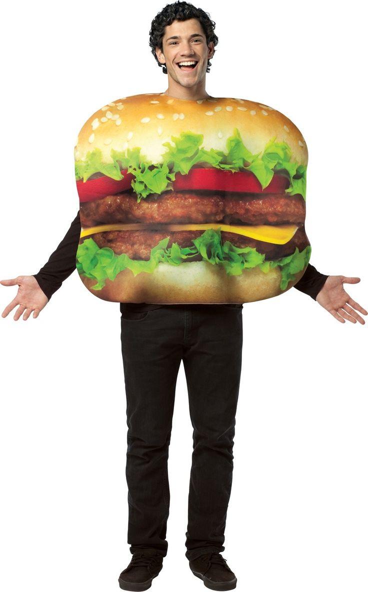 Déguisement hamburger adulte : Ce déguisement de hamburger pour adulte est composé d'une combinaison (tee-shirt, pantalon et chaussures non inclus). La combinaison est de couleur marron pour le derrière...