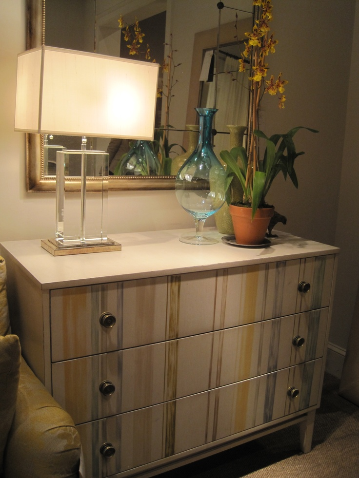 new from Hickory Chair.  Hand-painted Chest of Drawers. beautiful!: Accent Ideas, House Ideas, Color Stripes, Decorating Ideas, Muted Color, Fun Furniture Ideas, Craft Ideas, Business Ideas