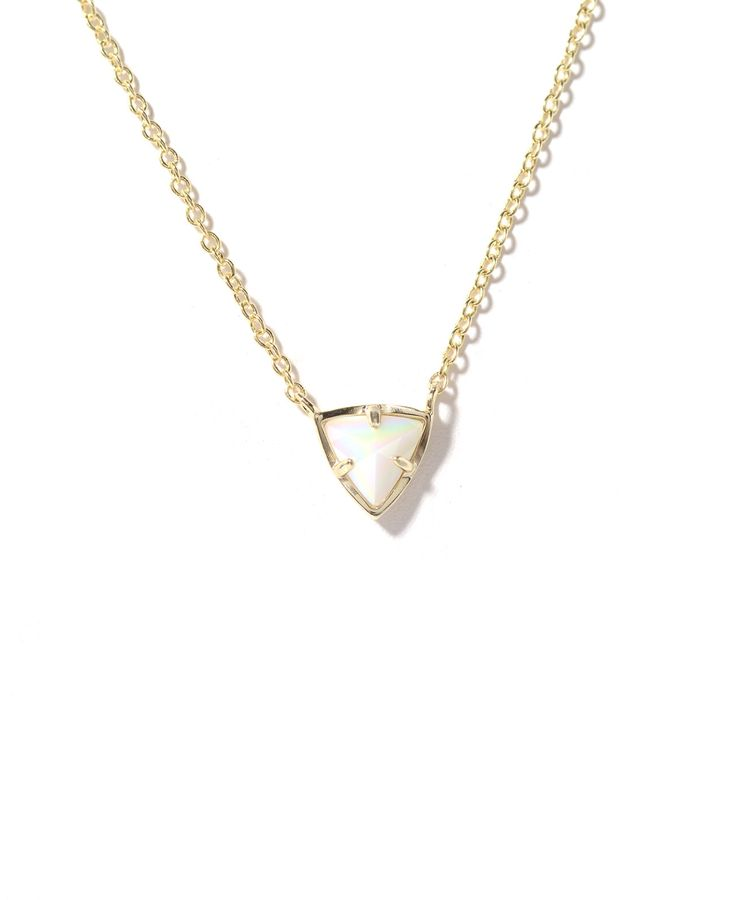 Kendra Scott Perry Triangle Pendant Necklace in WHITE