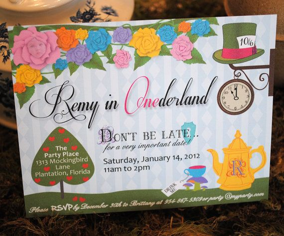 Alice in Wonderland Invitation (or Onederland for first birthdays) for birthday, shower, tea party - Digital File, Personalized, Printable