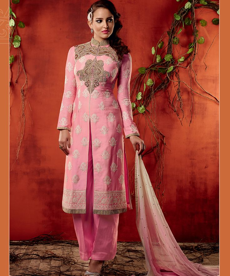 #OnlineShoppingIndia Store sell #Designer Morden Mughal Inspiration Style #Embroidered On Neck And Printed On Pink Cotton Satin Fabric And Golden Border on Light Pink Chiffon #Dupatta Straight semi-stitched #salwar-suit.