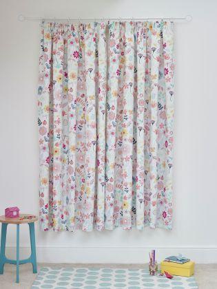 Buy Painterly Botanical Cotton Rich Blackout Pencil Pleat Curtain - 392-310 | Next UK