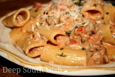Italian Sausage Rigatoni with Spicy Cream Sauce - Lightly caramelized onions are sauteed with Italian sausage, a little chicken broth, tomatoes, cream and seasonings and tossed with rigatoni pasta for a quick skillet meal.
