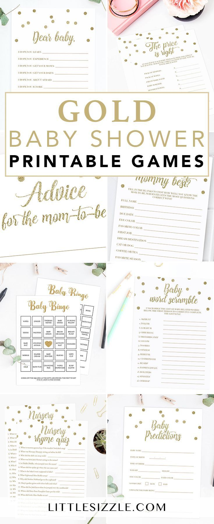 Gold Baby Shower Ideas by LittleSizzle. Click through to instantly download your…