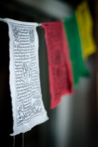 Tibetan prayer flags    I have these hanging in my bedroom to remind me that there is always more to this world than I know, and with that comes many fascinating interpretations of life.