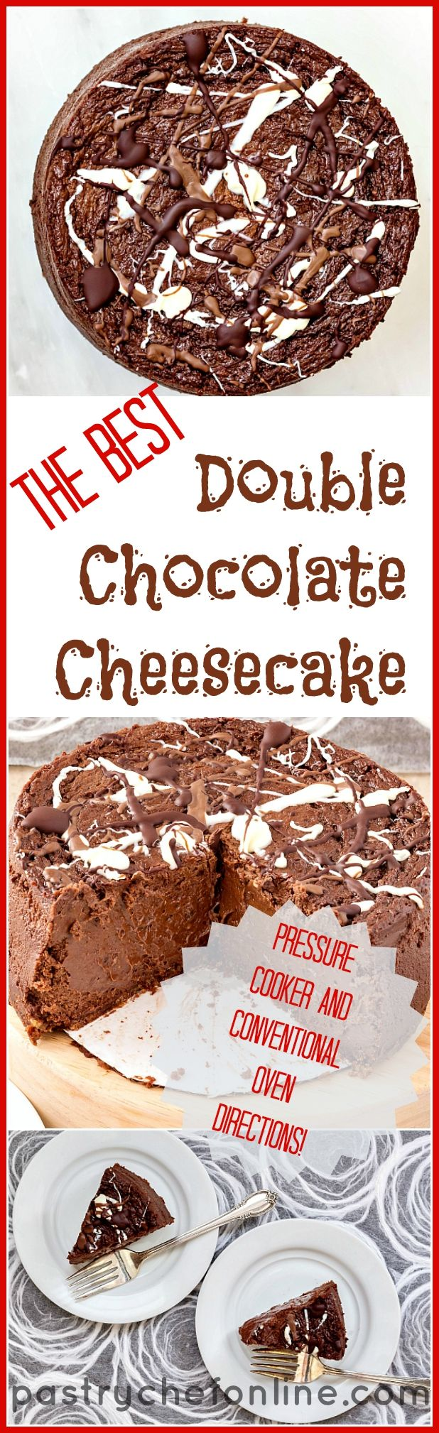 "This might just be the only chocolate cheesecake recipe you need. It is certainly decadent, smooth, creamy and delicious. Make a 6"" cake to serve 6-8 or double the recipe to make a 9"" cake to serve 16. Either way, this cake is a stunner. Included are directions for cooking in a pressure cooker as well as baking in the oven. Try it, and see if you don't think this is the best double chocolate cheesecake recipe around! 