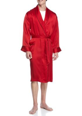 Geoffrey Beene Red Silk Shawl Collar Robe